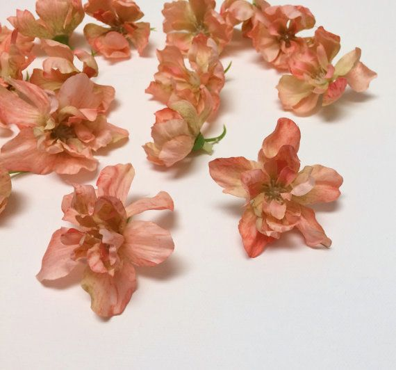 Silk Flowers  18 Delphinium Blossoms in CORAL by BlissfulSilks