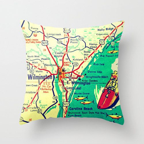 Hey, I found this really awesome Etsy listing at https://www.etsy.com/listing/182315781/north-carolina-map-pillow-wilmington-nc