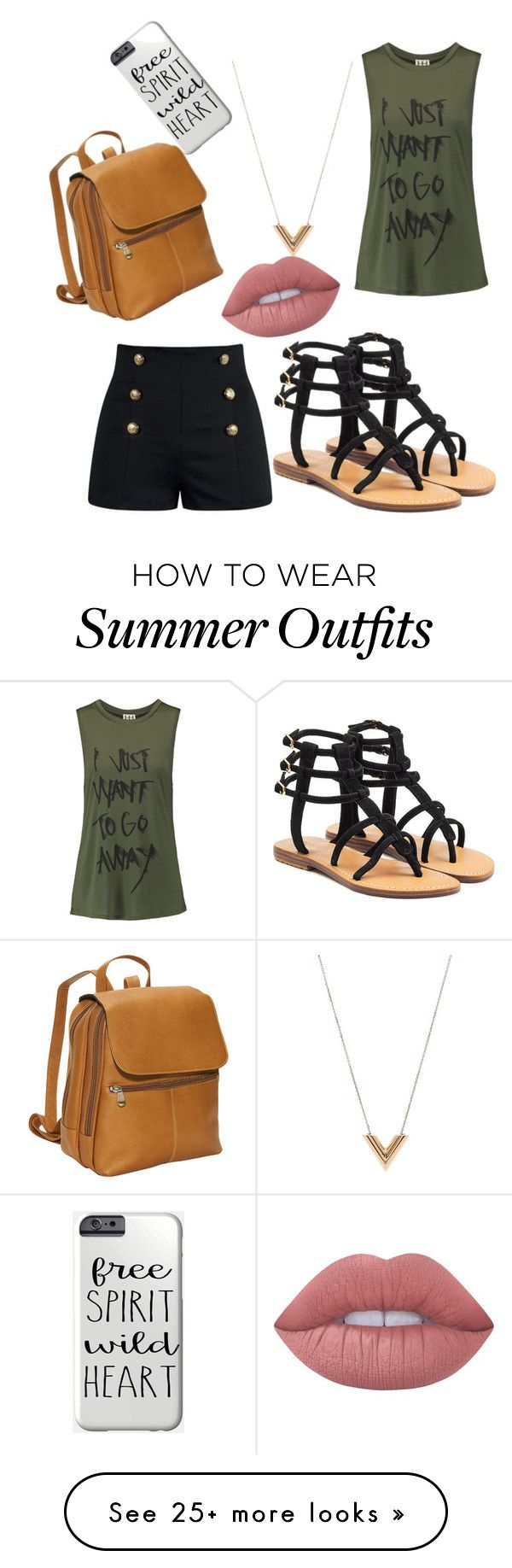 """""""Summer Outfit"""" by aqua-croft on Polyvore featuring Haute Hippie, Louis Vuitton, Lime Crime, David King & Co. and Mystique"""