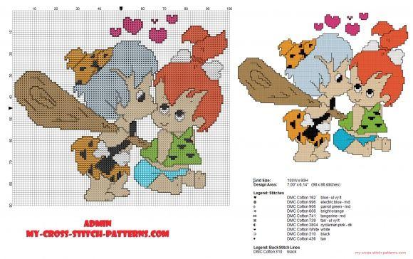 The Flintstones Bamm-Bamm Rubble kisses Pebbles Flintstone cross stitch pattern (click to view)