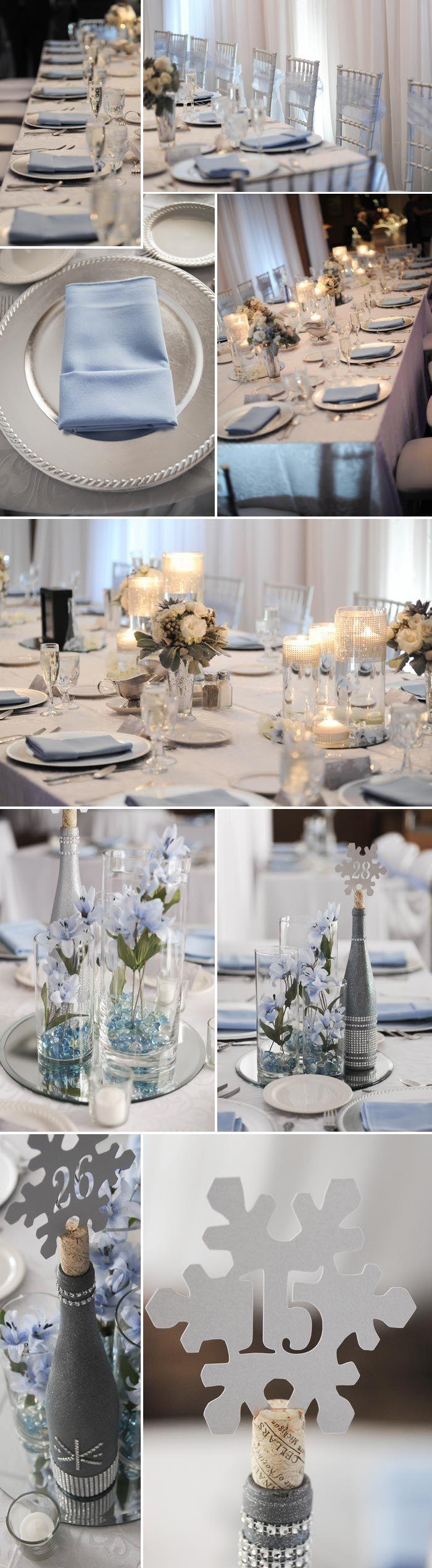 Hochzeit im Februar mit toller Tischdeko in Silber und Hellblau. Bilder: © JDHowell Photography