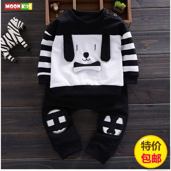 Весенний костюм младенца прилив выходит 4-6 месяцев ребенка мальчиков и девочек из двух частей свитер мультфильма 0-1-2 3-х лет