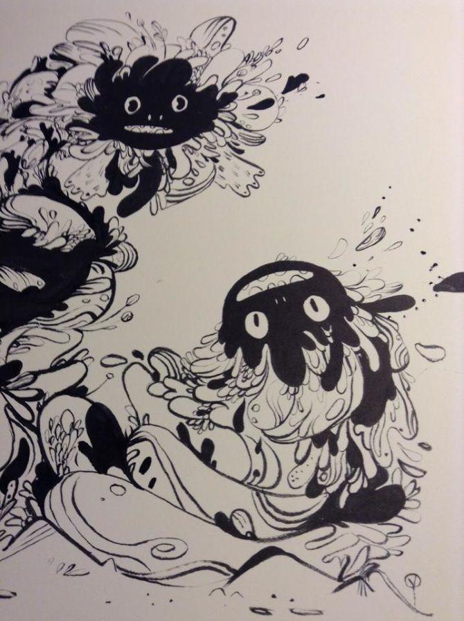 PRE ADVENTURE - Karina Posborg - ink - dragons - creatures - character design - monster - bloob - woobly - artwork -