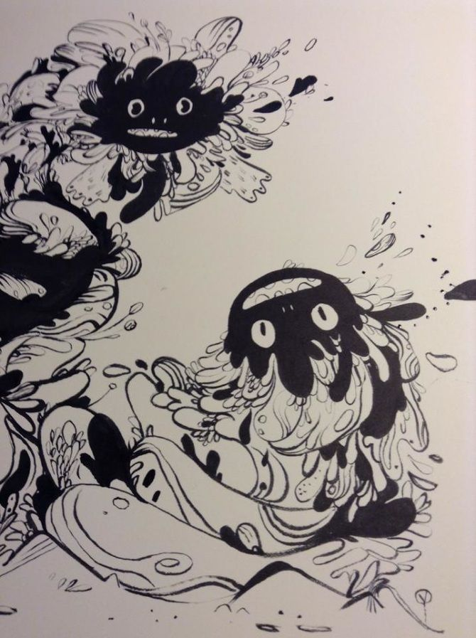 PRE ADVENTURE - Karina Posborg - ink - dragons - creatures - character design - monster - bloob - woobly - artwork -