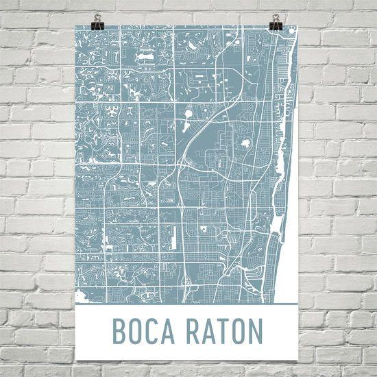 Boca Raton FL Map, Art, Print, Poster, Wall Art From $29.99 - ModernMapArt