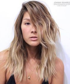 for oblong faces--Medium Layered Blonde Balayage Hairstyle