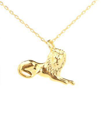 925 Ayar Gümüş Aslan Kral Charm Kolye, Sarı