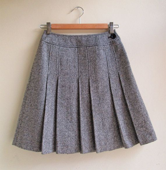 Melange Wool Pleated College Skirt by 68StaffordSt on Etsy, £24.25