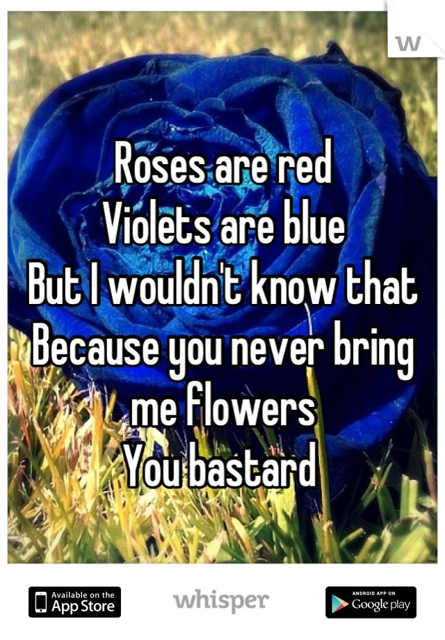 Roses are red  Violets are blue  But I wouldn't know that  Because you never bring me flowers  You bastard