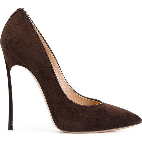 Casadei Blade pumps ($687) ❤ liked on Polyvore featuring shoes, pumps, brown, brown high heel pumps, high heeled footwear, pointed toe stilettos, leather pumps and high heel shoes