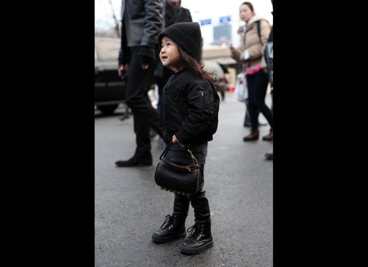 Alexander Wang's niece, Alia.  Look at her mini wang studded bag! so cute