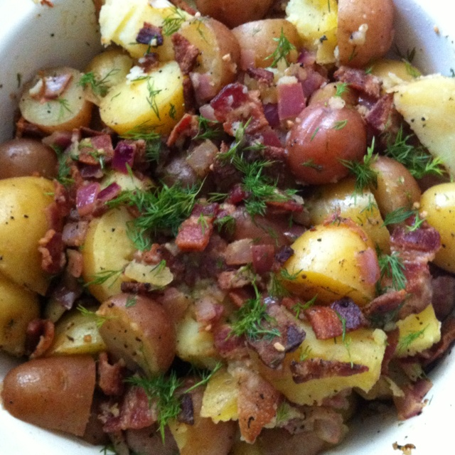 Warm bacon potato salad from Food Network recipe from Down Home with ...