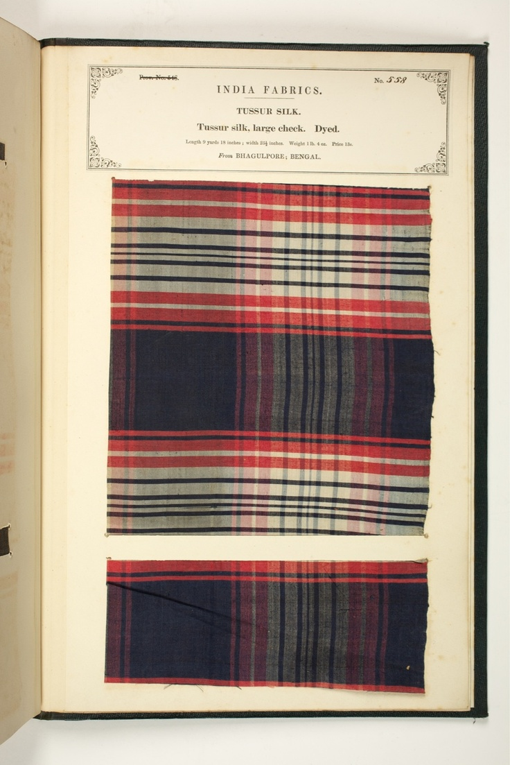 Tussur silk, from Bhagalpur, Bihar, India. The Textile Manufacturers of India. Compiled by John Forbes Watson. Published by the India Office in 1866.