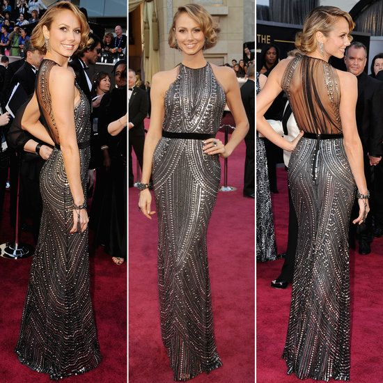 Stacy Keibler in silver studded Naeem Khan @ Oscars 2013