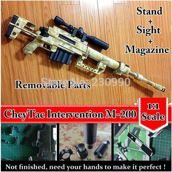 [Visit to Buy] CheyTac Intervention M-200 Sniper Rifle 1:1 Scale 3D Paper Model Cosplay Kits Kid Adults' Gun Weapons Paper Models Handmade Toys #Advertisement