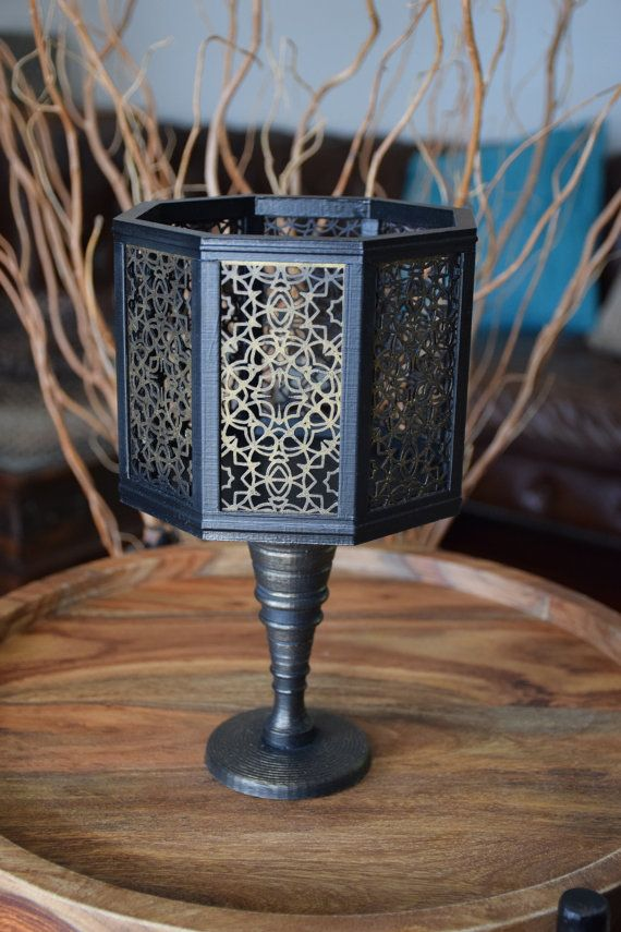 Vase Handmade Black and Gold Octagon by ThadamCreativeDesign