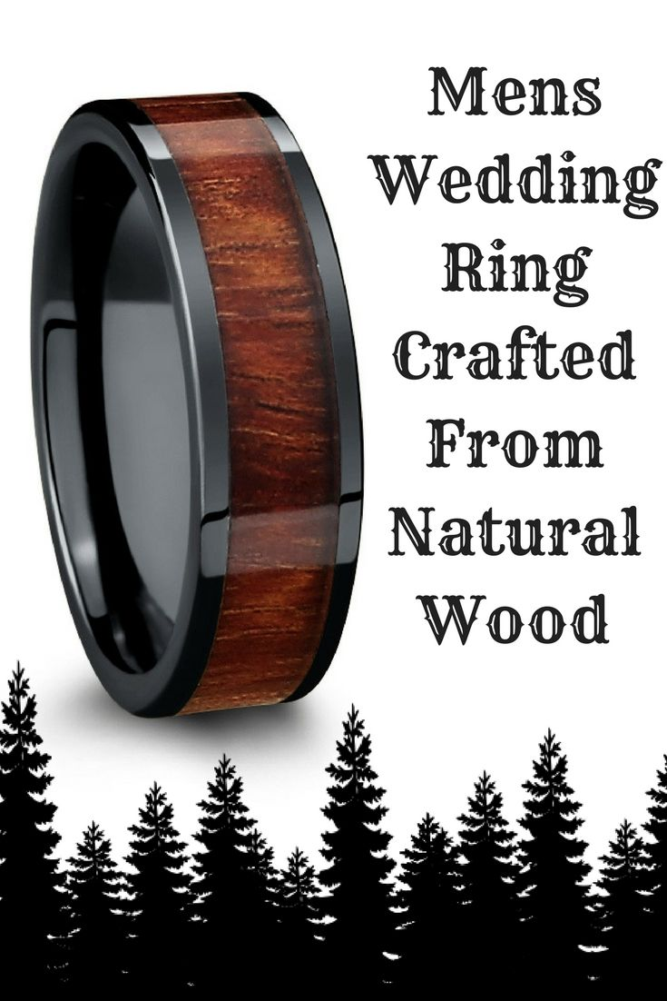 wood wedding rings outdoorsman wedding band Mens wood wedding ring crafted out of black high tech ceramic Designed with a flat
