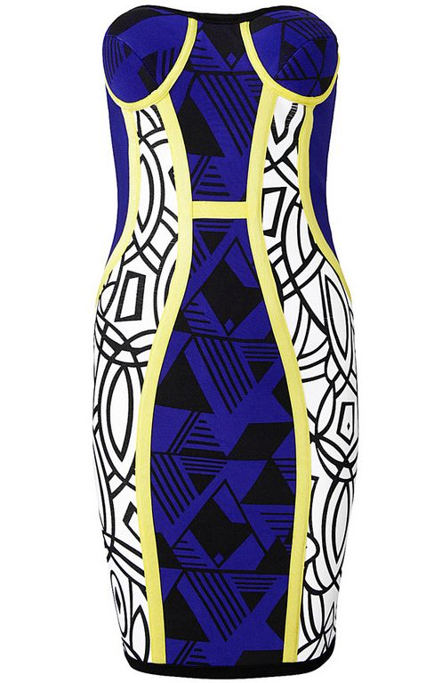 Blue Strapless Geometric Print Body Conscious Dress