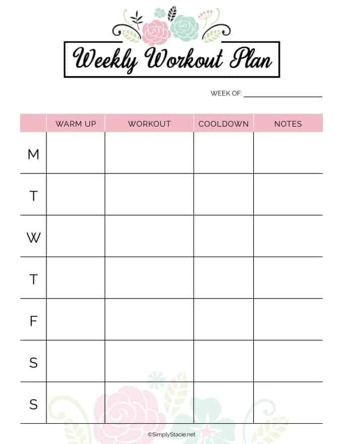 2019 Fitness Planner Free Printable Fitness Planner Free