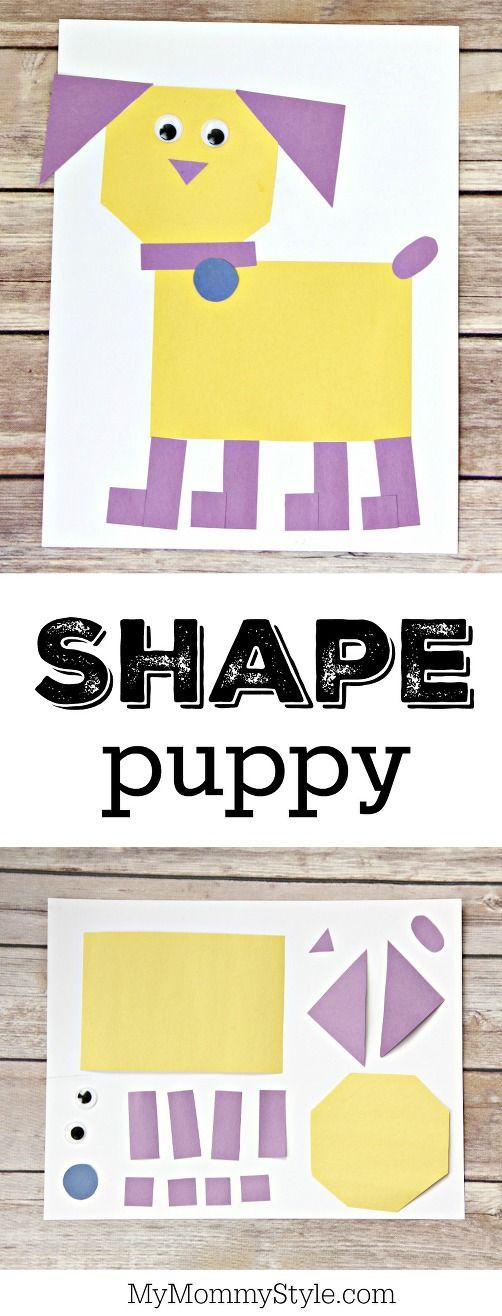 These shape puppies are a fun way for preschoolers to learn shapes. They are a great craft to make after reading your favorite picture books about dogs, a reading list is included.