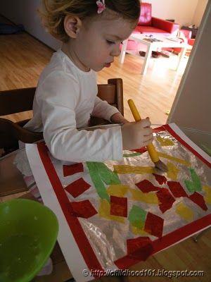 More Tissue Paper Art- Colored Tissue Paper Collage  http://childhood101.com/2010/04/kids-art-more-tissue-paper-art/