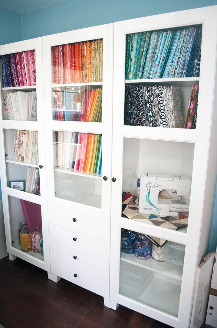 Storing fabric hints sewing room storage ideas pinterest for Fabric storage