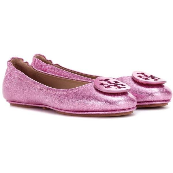 Tory Burch Minnie Leather Ballerinas ($260) ❤ liked on Polyvore featuring shoes, flats, ballerinas, metallic, pink flat shoes, pink ballet shoes, ballet flats, tory burch shoes and pink shoes
