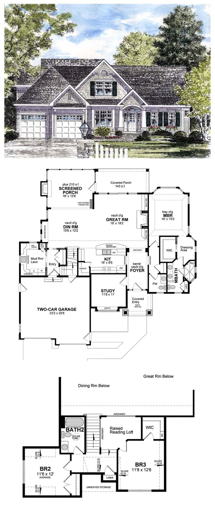#CapeCod #HomePlan 94194 has 2308 square feet of living space, 3 bedrooms, 2.5 bathrooms and opens with a barrel vault ceiling in the foyer. An arched doorway leads to the master suite and guest bathroom. A vaulted ceiling adorns the dining room and the great room with its fireplace and built-in bookcases. Kitchen, mud room and study complete the main level. Upstairs, we have 2 bedrooms, a shared bath and a raised reading loft.