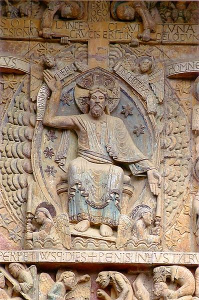 Detalle del tímpano de la portada de Santa Fe de Conques. Pantocrator.