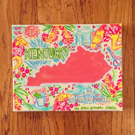 Mini Lilly Pulitzer State Canvas by SweetMagnoliaCompany on Etsy