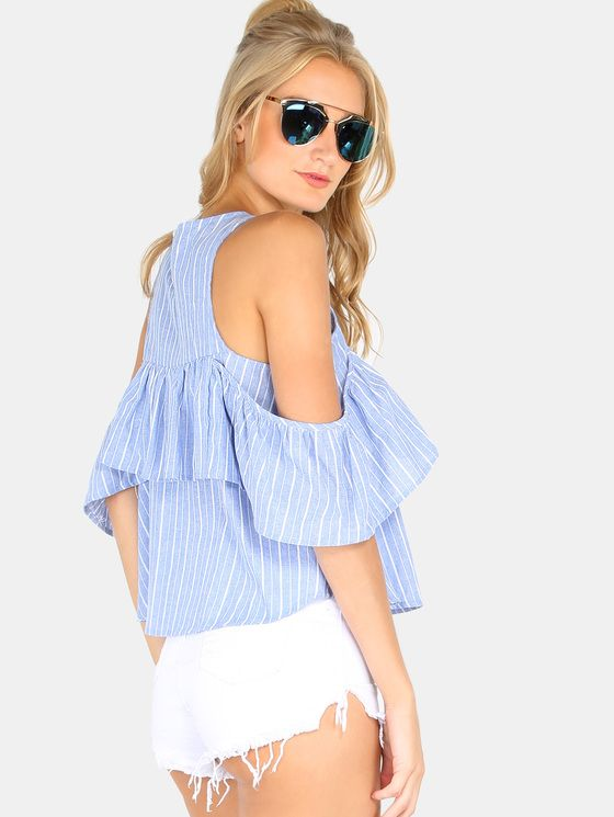 Online shopping for Blue Striped Cold Shoulder Ruffle Blouse from a great selection of women's fashion clothing & more at MakeMeChic.COM.