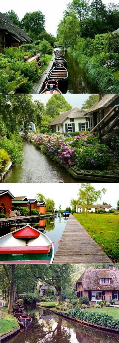 Giethoorn: the whole village is connected by a water canal system instead of actual roads - so pretty!!