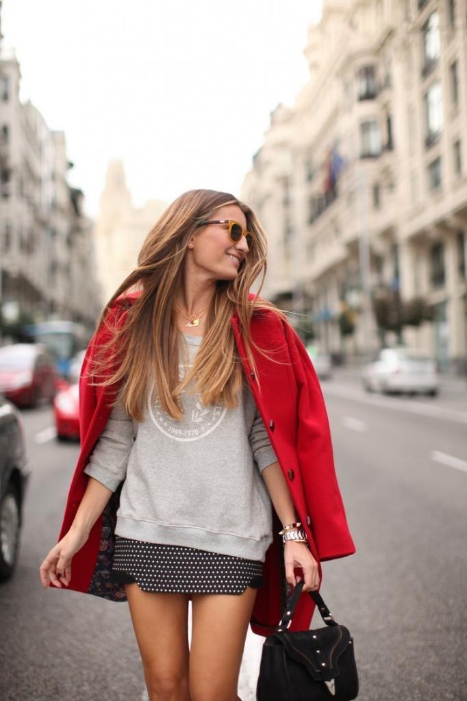 Bright blazer, sweatshirt + mini skirt