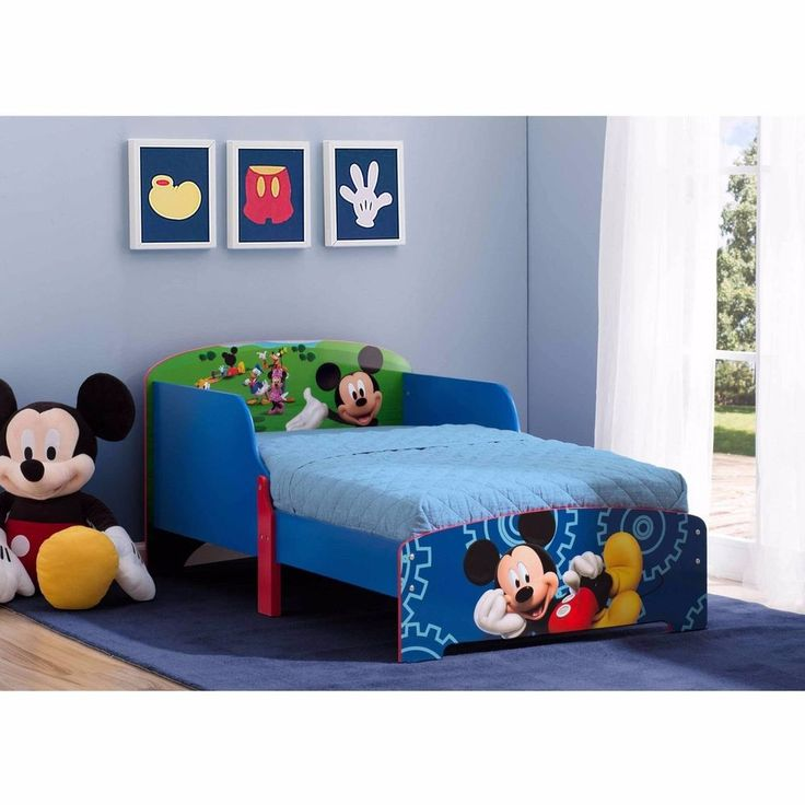 Mickey Mouse Wood Toddler Bed Disney Furniture Children Kids Bedroom Colorful #Disney