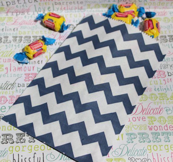 50 Navy Blue Chevron Candy Bags Navy Blue Wedding Favor Bags
