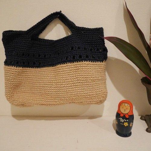 【再販】かごバッグ 麻 紺×きなり 透かし編み 書類もはいる、どこでもバッグ