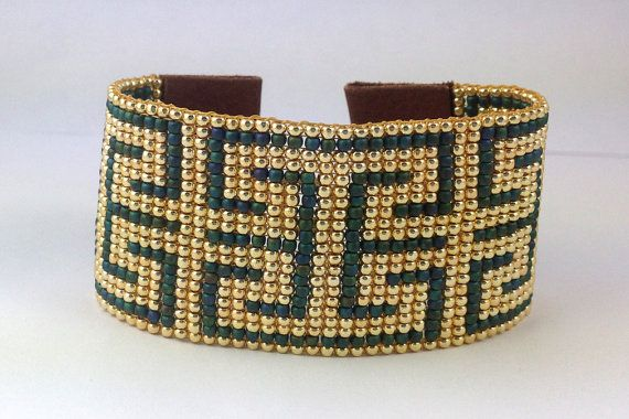 Bead loom bracelet, loom beaded leather cuff bracelet, Ethnic, Deco, gold, teal glass beads, fastened with brass toggle clasp