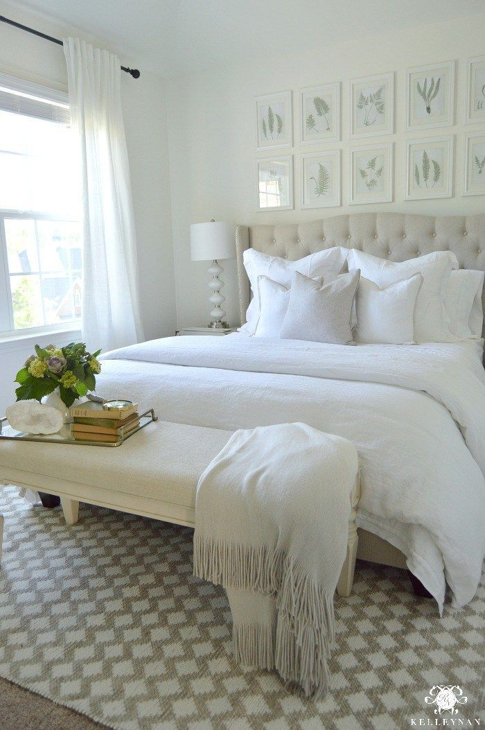 Kelley Nan: Guest Bedroom Reveal: The White Room- White Guest Bedroom Transformation with Pottery Barn Linen Bedding and Fern Botanical Gallery Wall above bed