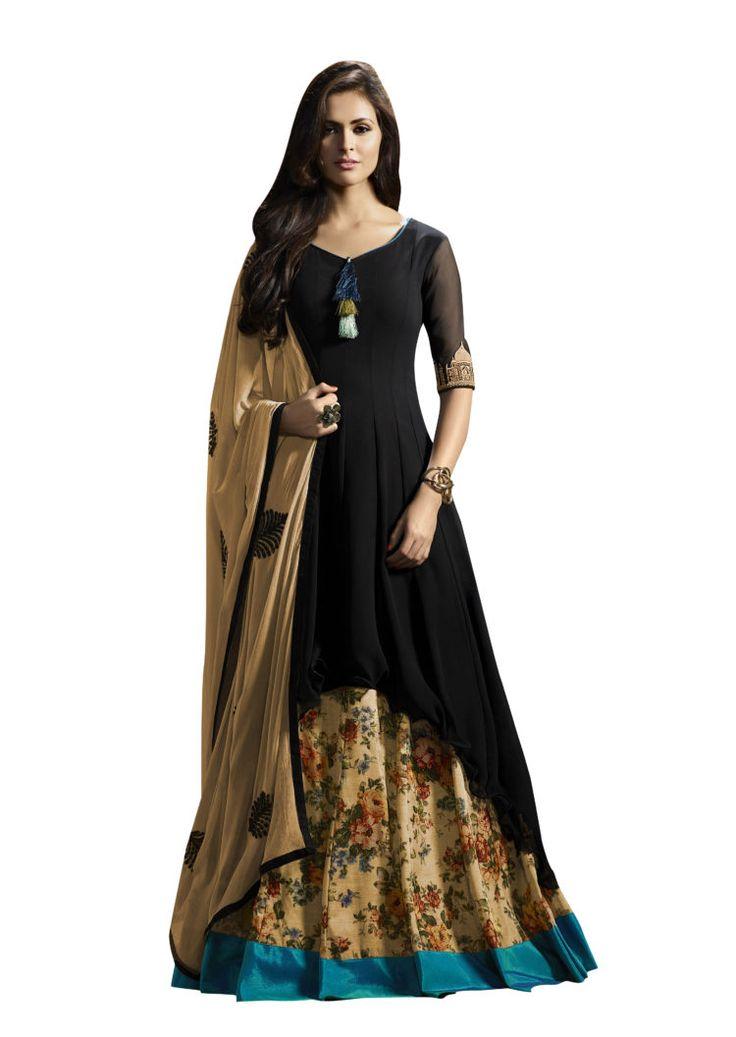 Click On Bazaar Black colored Georgette Lehenga Suit. - ClickOnBazar
