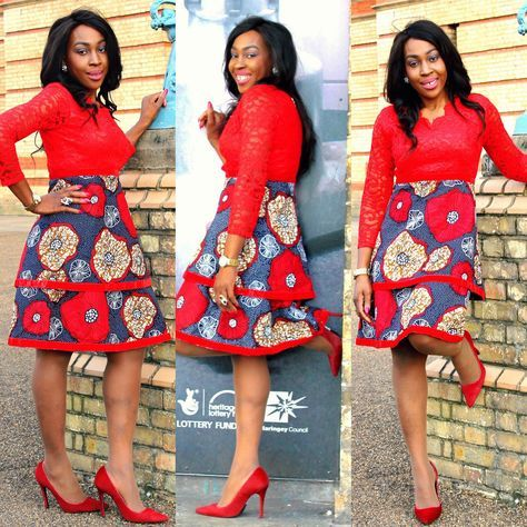 A personal favourite from my Etsy shop https://www.etsy.com/uk/listing/555363320/red-african-print-ankara-lace-dress-with