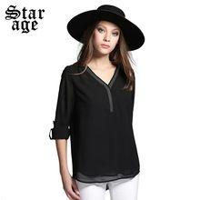 L-5xl kadın gümüş boncuklu şifon gömlek laides katı uzun gömlek 2015 güz moda marka seksi v yaka uzun kollu casual tops 1016(China (Mainland))