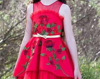 Vestido rojo con rosas de Dama de honor de cumpleaños partido princesa tutu encaje vestido de fiesta moda comunión exclusiva patrón chicas ocasión