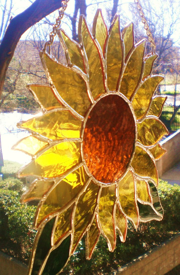 Sunflower Stained Glass Panel by Lightworksartworks on Etsy, $60.00