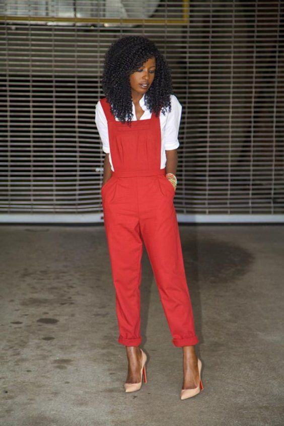 Red overalls are a stunning choice. | 30 Red Outfits to wear before you're 30.