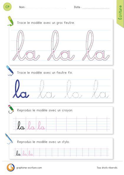 Fiche d'écriture CP – CE1 : écrire l'article la en cursive