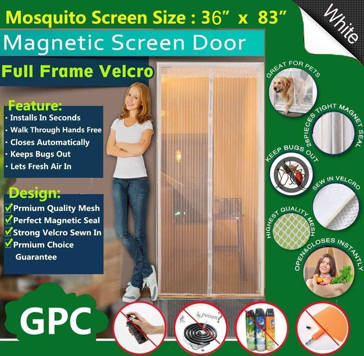 """Magnetic Screen Door by Meiz - Full Frame Velcro - Let Fresh Air In - Instant Mosquito - Insect and Fly Screen with Magic Magnetic Closure - Fits Door Openings up to 34""""x82"""" MAX"""