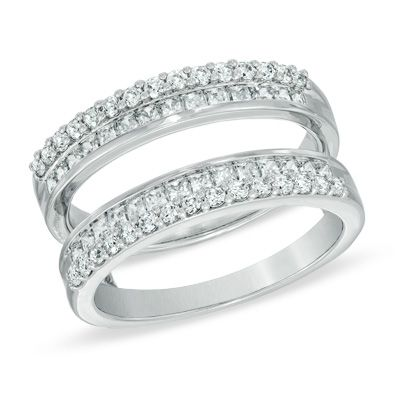 1 CT. T.W. Princess-Cut and Round Diamond Double Row Solitaire Enhancer in 14K White Gold
