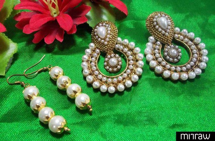 Beautiful pearl polki earrings