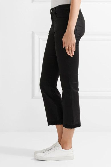 J Brand - Selena Cropped Coated Mid-rise Bootcut Jeans - Black - 31