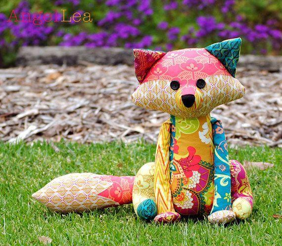 Fox de patron de couture pour le PDF Softie, Francie le modèle Animal peluche Fox, Patchwork Fox modèle
